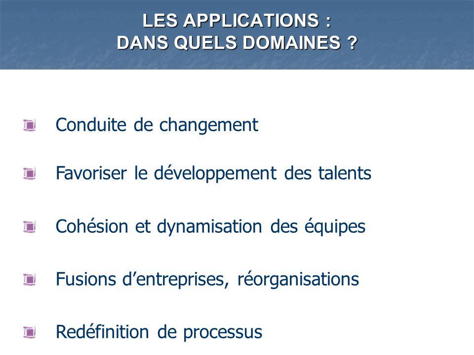 LES APPLICATIONS : DANS QUELS DOMAINES ? Conduite de changement Favoriser le développement des talents Cohésion et dynamisation des équipes Fusions de