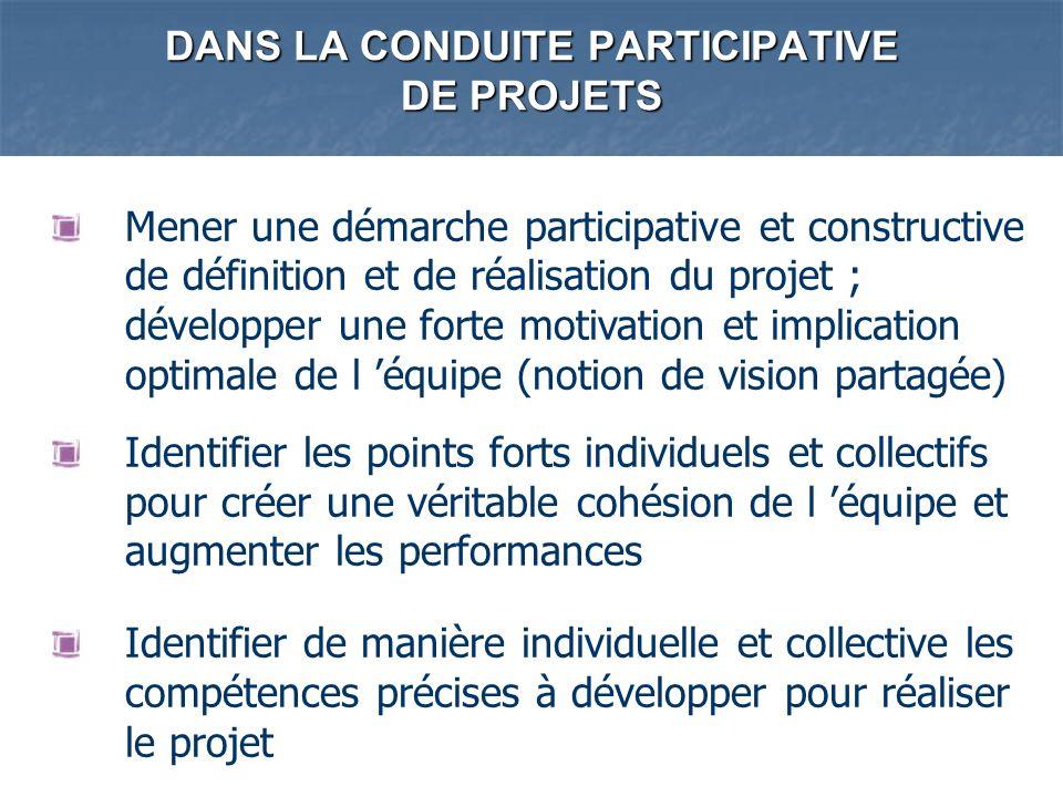 DANS LA CONDUITE PARTICIPATIVE DE PROJETS Mener une démarche participative et constructive de définition et de réalisation du projet ; développer une
