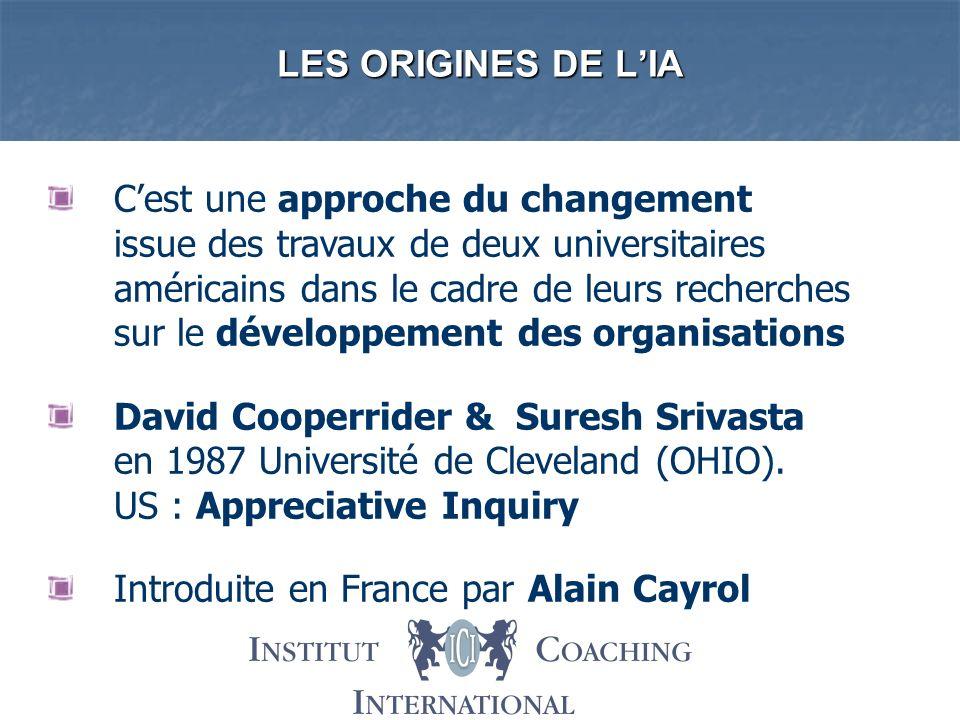 LES ORIGINES DE LIA Cest une approche du changement issue des travaux de deux universitaires américains dans le cadre de leurs recherches sur le dével