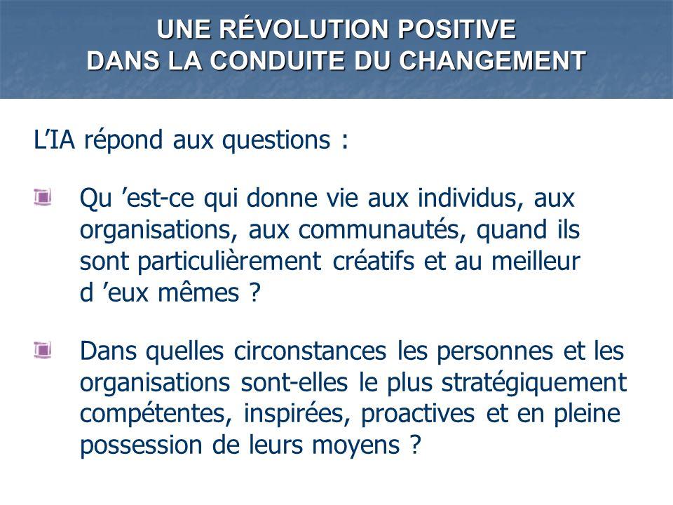 UNE RÉVOLUTION POSITIVE DANS LA CONDUITE DU CHANGEMENT LIA répond aux questions : Qu est-ce qui donne vie aux individus, aux organisations, aux commun