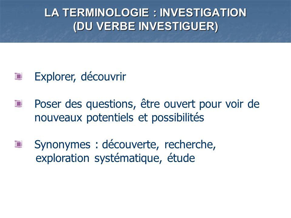 LA TERMINOLOGIE : INVESTIGATION (DU VERBE INVESTIGUER) Explorer, découvrir Poser des questions, être ouvert pour voir de nouveaux potentiels et possib