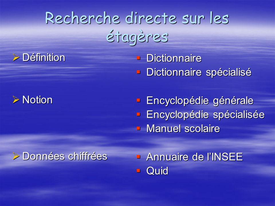 Recherche directe sur les étagères Définition Définition Notion Notion Données chiffrées Données chiffrées Dictionnaire Dictionnaire Dictionnaire spéc