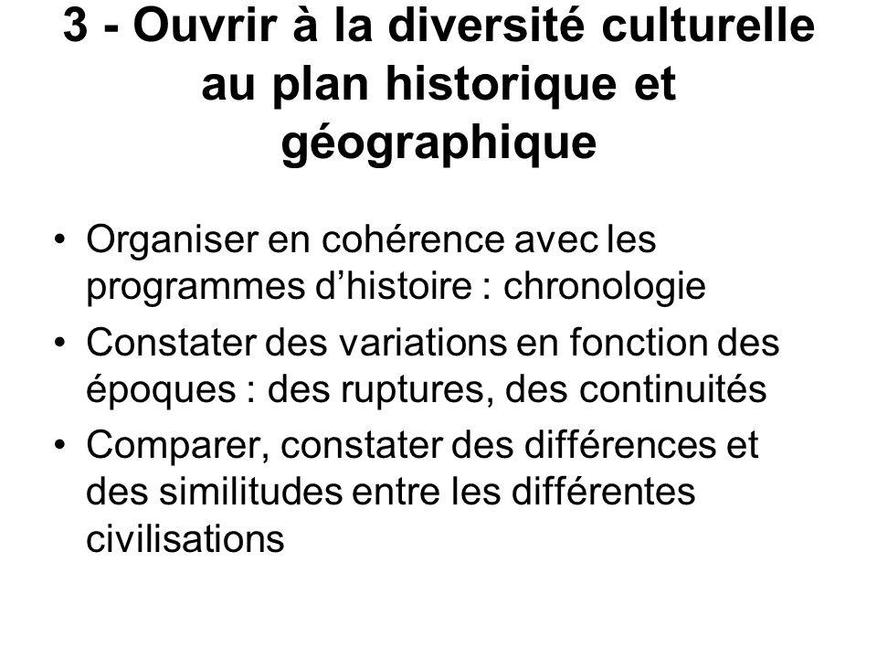3 - Ouvrir à la diversité culturelle au plan historique et géographique Organiser en cohérence avec les programmes dhistoire : chronologie Constater d
