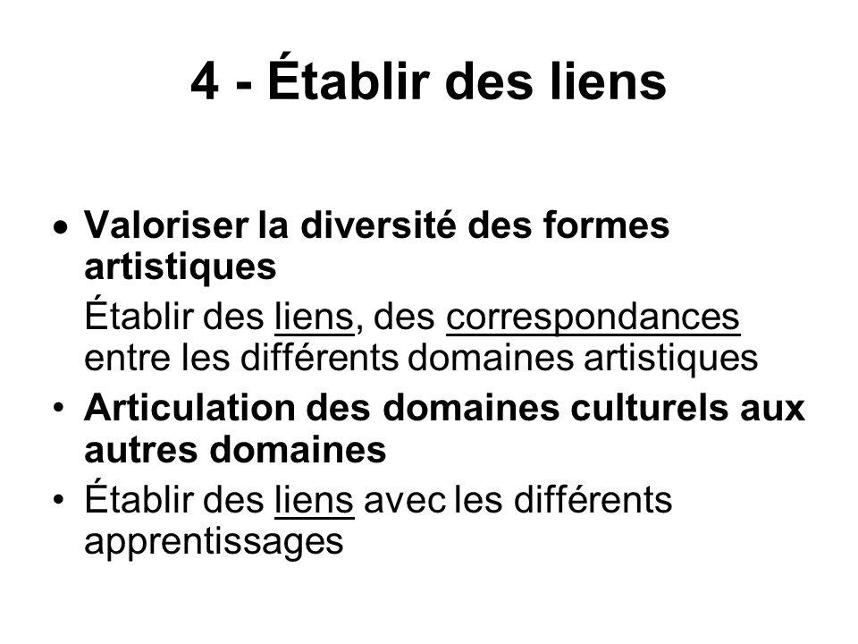 4 - Établir des liens Valoriser la diversité des formes artistiques Établir des liens, des correspondances entre les différents domaines artistiques A