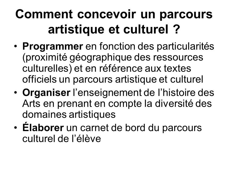 Comment concevoir un parcours artistique et culturel ? Programmer en fonction des particularités (proximité géographique des ressources culturelles) e