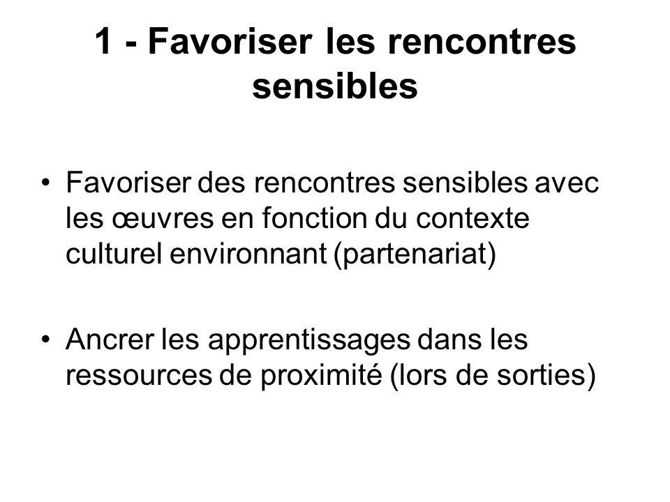 1 - Favoriser les rencontres sensibles Favoriser des rencontres sensibles avec les œuvres en fonction du contexte culturel environnant (partenariat) A