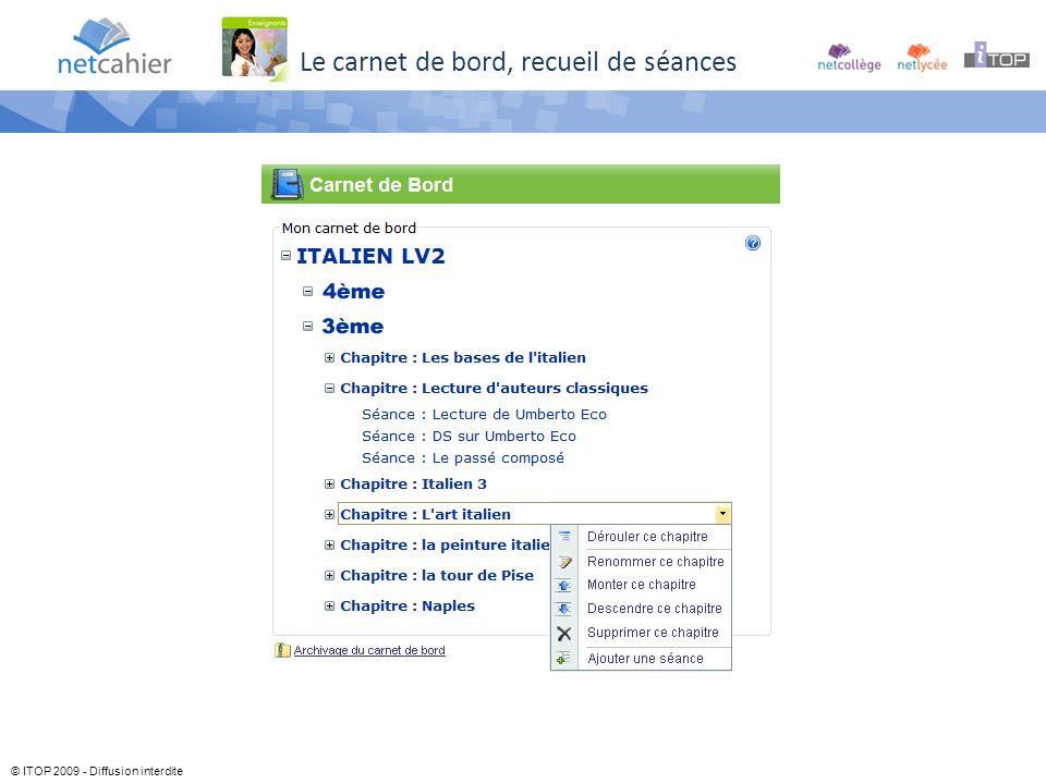 © ITOP 2009 - Diffusion interdite Le carnet de bord, recueil de séances