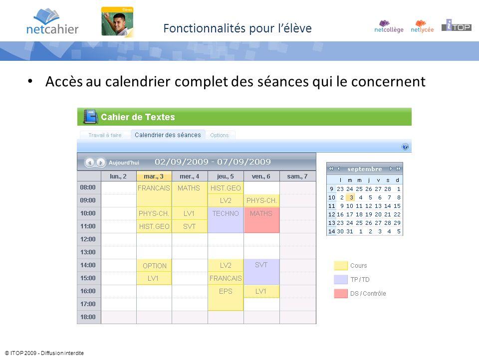 © ITOP 2009 - Diffusion interdite Fonctionnalités pour lélève Accès au calendrier complet des séances qui le concernent