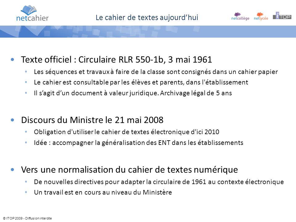 © ITOP 2009 - Diffusion interdite Le cahier de textes aujourdhui Texte officiel : Circulaire RLR 550-1b, 3 mai 1961 Les séquences et travaux à faire d