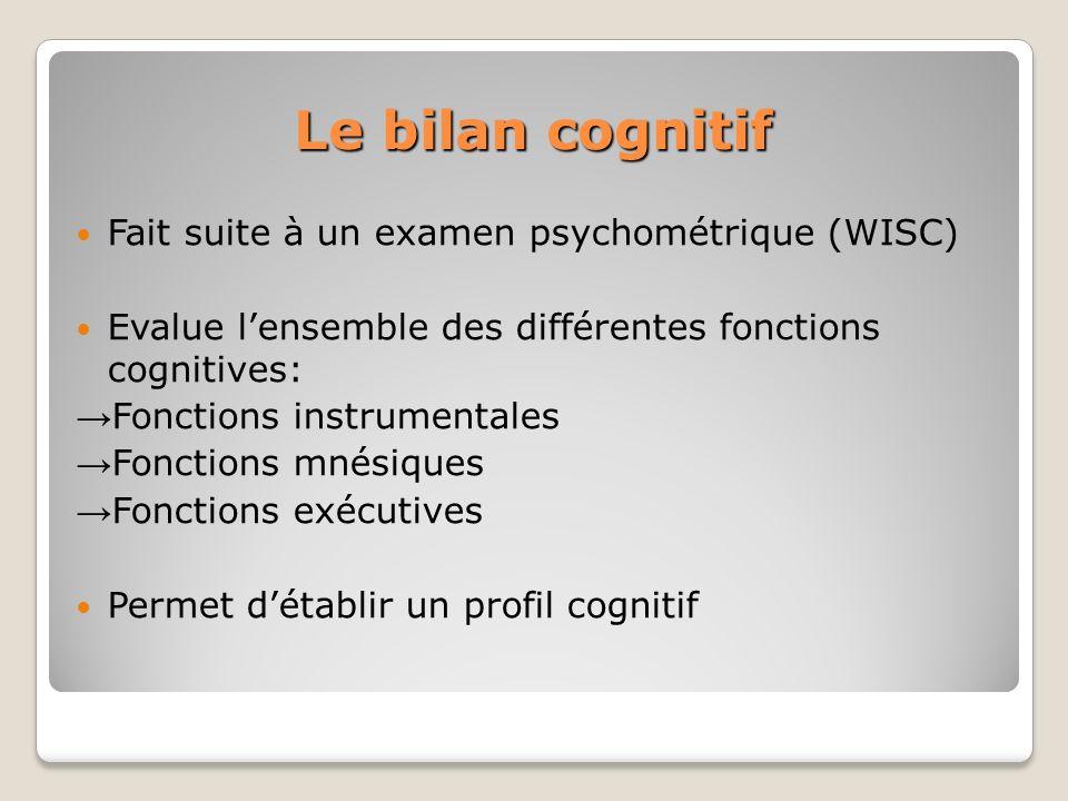 Le bilan cognitif Fait suite à un examen psychométrique (WISC) Evalue lensemble des différentes fonctions cognitives: Fonctions instrumentales Fonctio