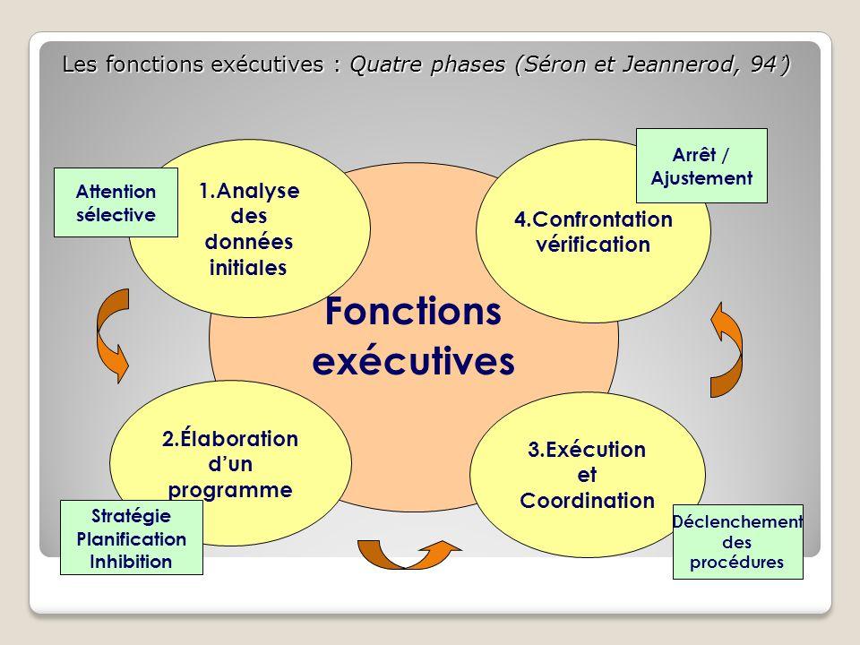 Les fonctions exécutives : Quatre phases (Séron et Jeannerod, 94) Fonctions exécutives 2.Élaboration dun programme 3.Exécution et Coordination 1.Analy