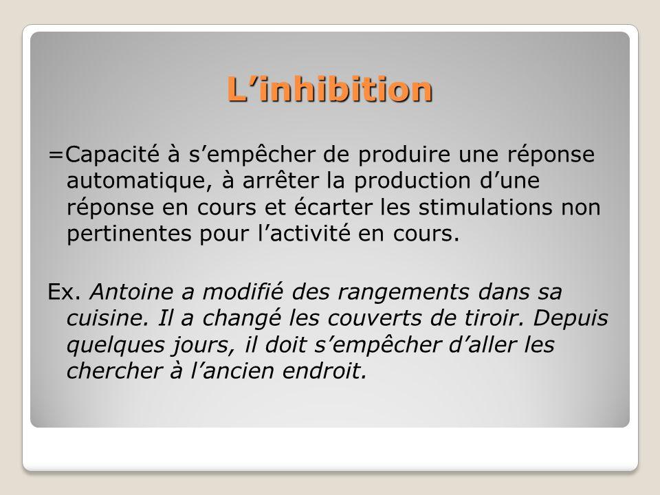 Linhibition =Capacité à sempêcher de produire une réponse automatique, à arrêter la production dune réponse en cours et écarter les stimulations non p