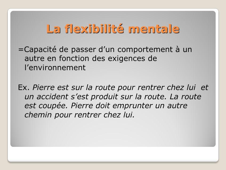 La flexibilité mentale =Capacité de passer dun comportement à un autre en fonction des exigences de lenvironnement Ex. Pierre est sur la route pour re