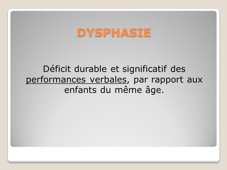 DYSPHASIE Déficit durable et significatif des performances verbales, par rapport aux enfants du même âge.
