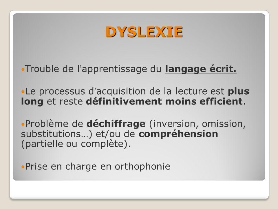 DYSLEXIE Trouble de lapprentissage du langage écrit. Le processus dacquisition de la lecture est plus long et reste définitivement moins efficient. Pr