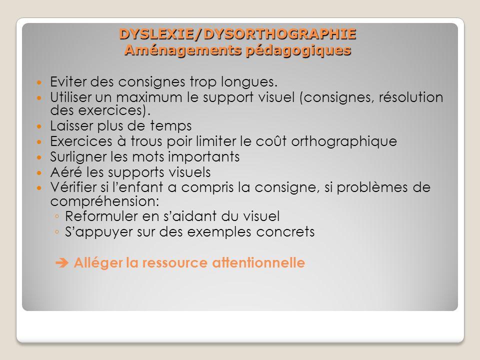 DYSLEXIE/DYSORTHOGRAPHIE Aménagements pédagogiques Eviter des consignes trop longues. Utiliser un maximum le support visuel (consignes, résolution des