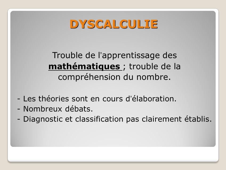 DYSCALCULIE Trouble de lapprentissage des mathématiques ; trouble de la compréhension du nombre. - Les théories sont en cours délaboration. - Nombreux