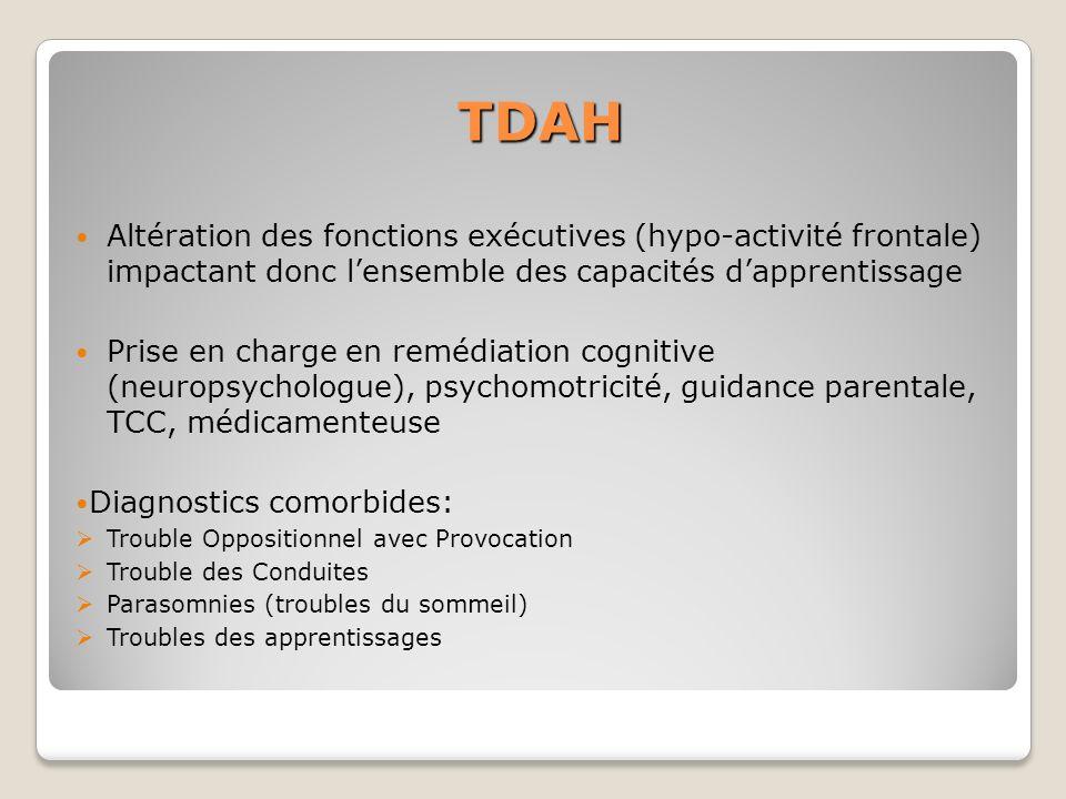 TDAH Altération des fonctions exécutives (hypo-activité frontale) impactant donc lensemble des capacités dapprentissage Prise en charge en remédiation