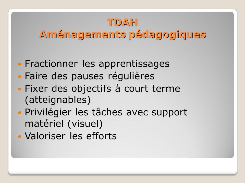 TDAH Aménagements pédagogiques Fractionner les apprentissages Faire des pauses régulières Fixer des objectifs à court terme (atteignables) Privilégier