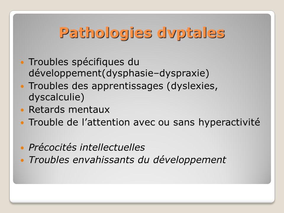 Pathologies dvptales Troubles spécifiques du développement(dysphasie–dyspraxie) Troubles des apprentissages (dyslexies, dyscalculie) Retards mentaux T