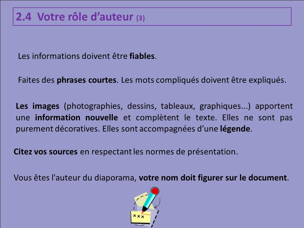 2.4 Votre rôle dauteur (3) Les informations doivent être fiables. Faites des phrases courtes. Les mots compliqués doivent être expliqués. Les images (