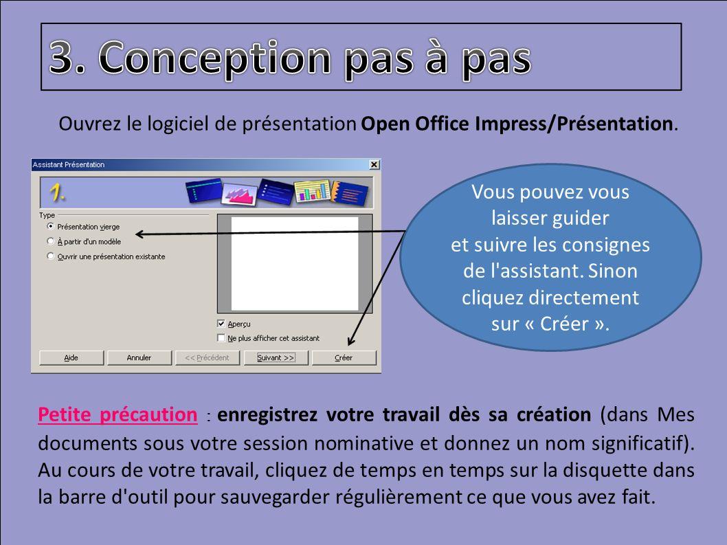 Ouvrez le logiciel de présentation Open Office Impress/Présentation. Petite précaution : enregistrez votre travail dès sa création (dans Mes documents