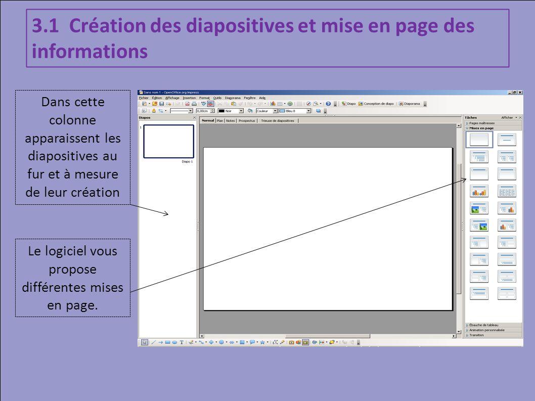Dans cette colonne apparaissent les diapositives au fur et à mesure de leur création 3.1 Création des diapositives et mise en page des informations Le