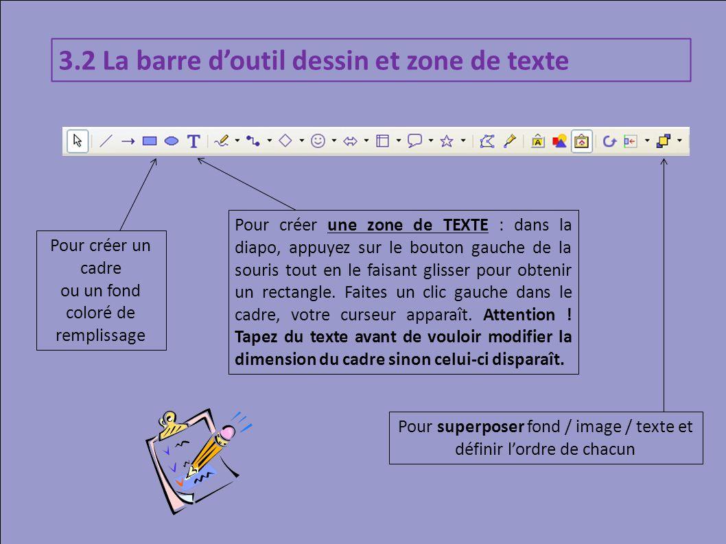 Pour créer un cadre ou un fond coloré de remplissage Pour créer une zone de TEXTE : dans la diapo, appuyez sur le bouton gauche de la souris tout en l