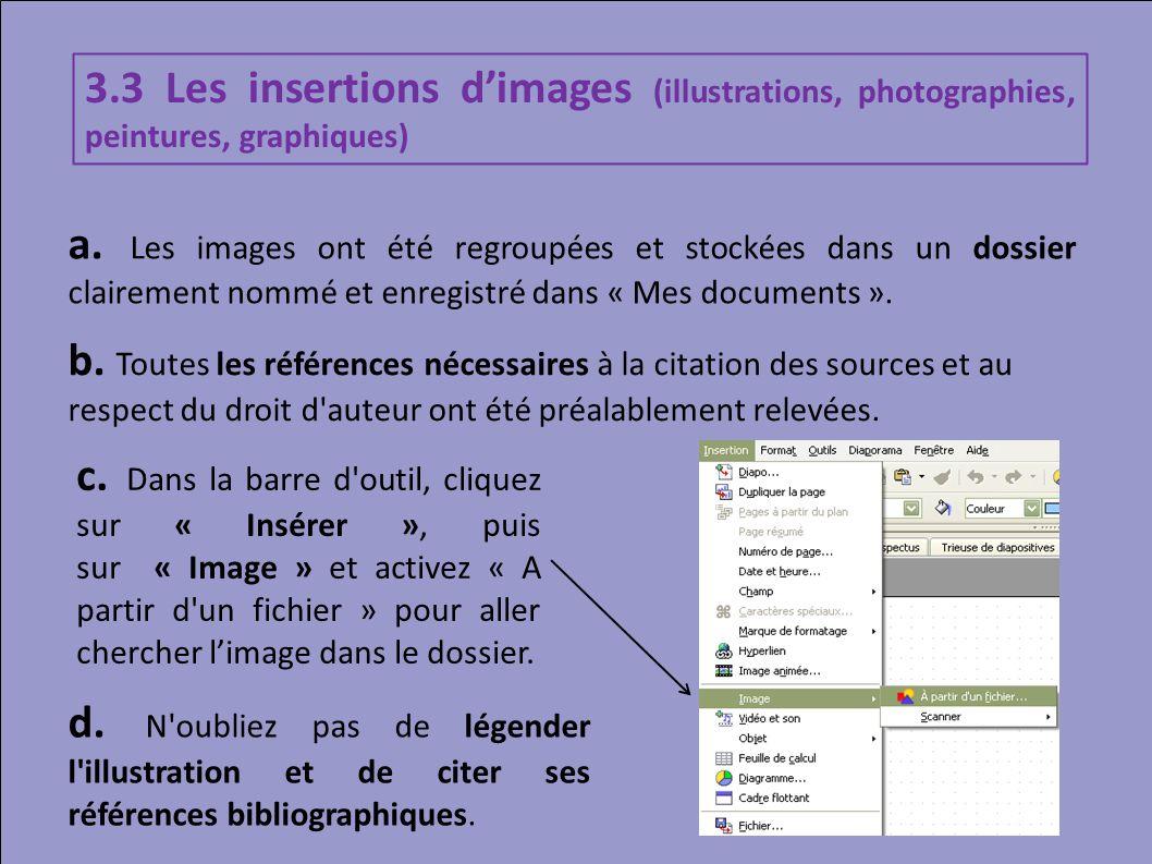 3.3 Les insertions dimages (illustrations, photographies, peintures, graphiques) a. Les images ont été regroupées et stockées dans un dossier claireme