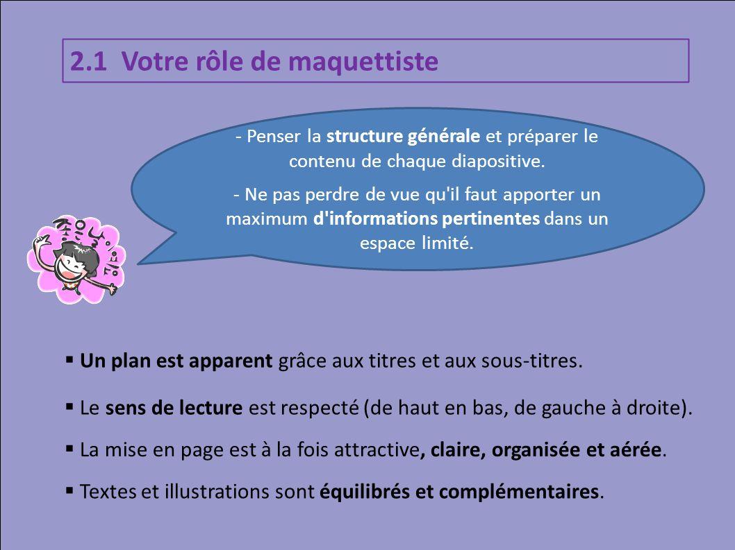 2.1 Votre rôle de maquettiste Un plan est apparent grâce aux titres et aux sous-titres. Le sens de lecture est respecté (de haut en bas, de gauche à d