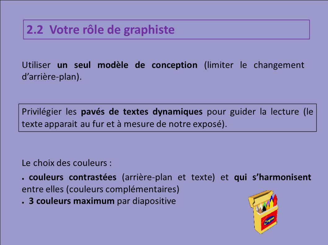 2.2 Votre rôle de graphiste Privilégier les pavés de textes dynamiques pour guider la lecture (le texte apparait au fur et à mesure de notre exposé).