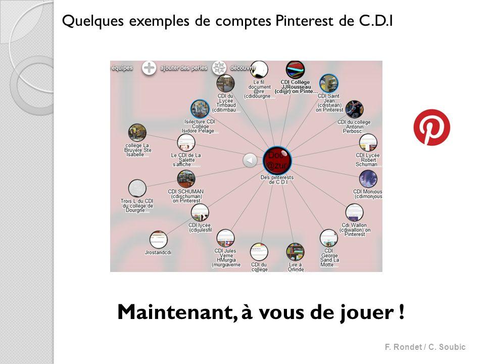Maintenant, à vous de jouer ! Quelques exemples de comptes Pinterest de C.D.I F. Rondet / C. Soubic