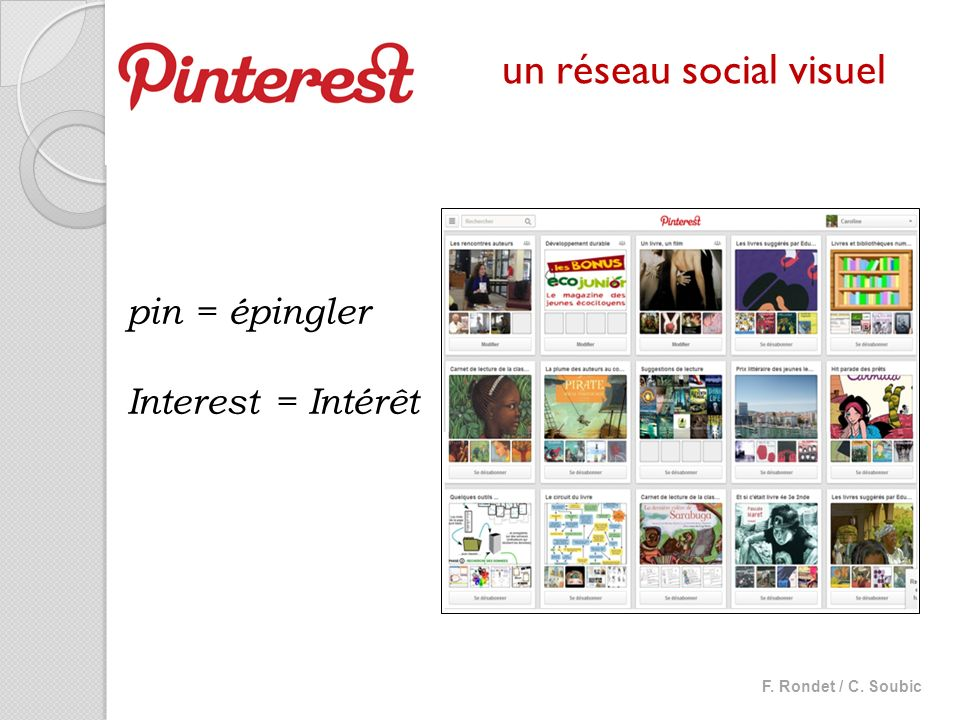 pin = épingler Interest = Intérêt un réseau social visuel F. Rondet / C. Soubic