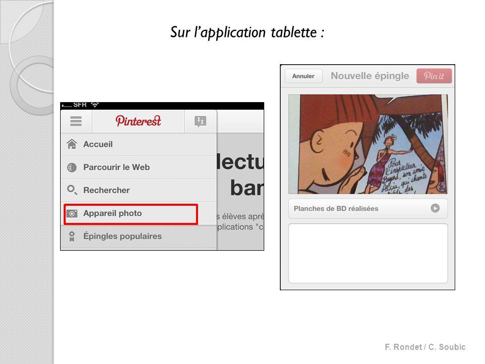 Sur lapplication tablette :