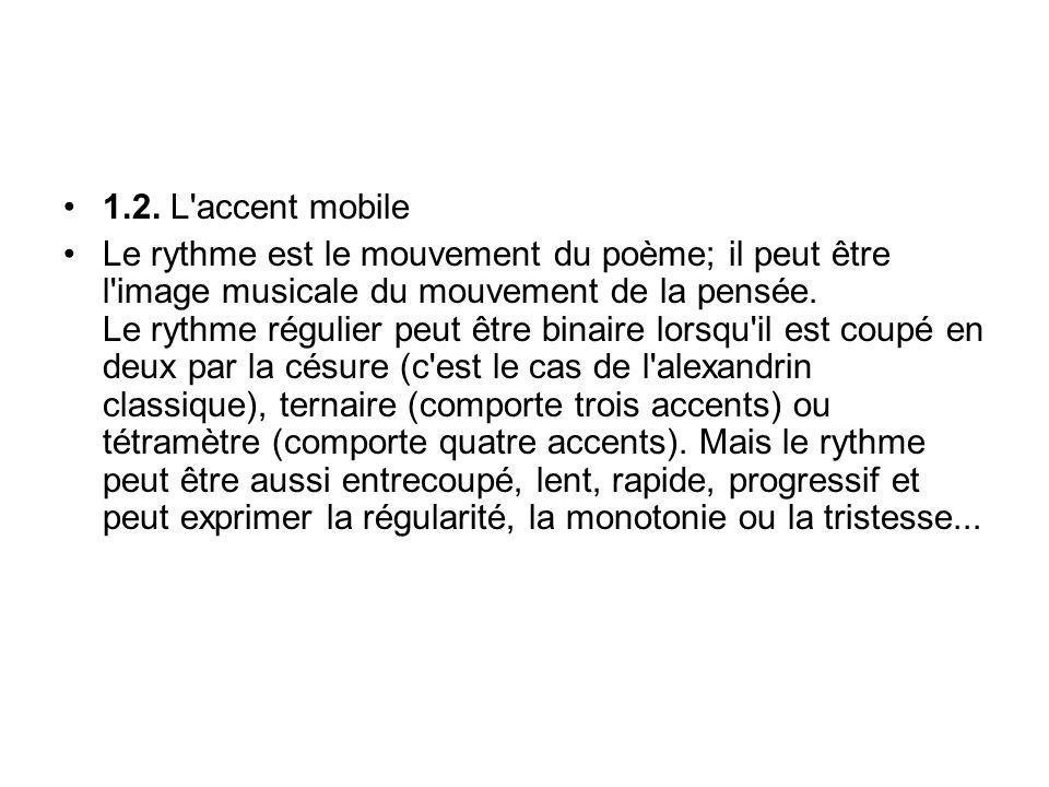 1.2. L'accent mobile Le rythme est le mouvement du poème; il peut être l'image musicale du mouvement de la pensée. Le rythme régulier peut être binair