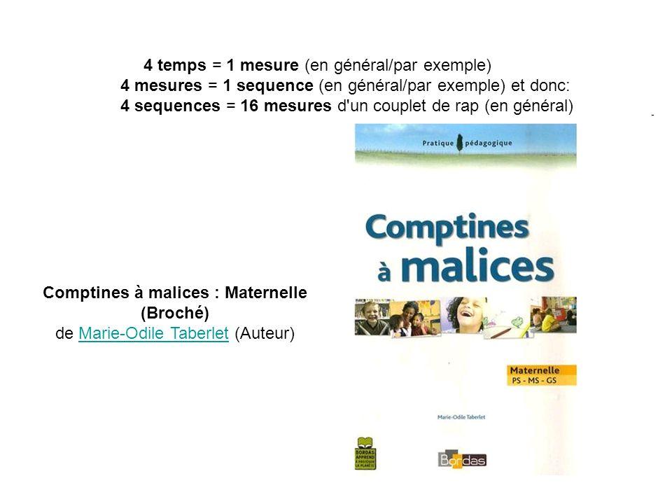 4 temps = 1 mesure (en général/par exemple) 4 mesures = 1 sequence (en général/par exemple) et donc: 4 sequences = 16 mesures d un couplet de rap (en général) Comptines à malices : Maternelle (Broché) de Marie-Odile Taberlet (Auteur)Marie-Odile Taberlet