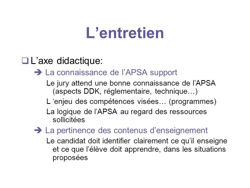 Lentretien Laxe didactique: La connaissance de lAPSA support Le jury attend une bonne connaissance de lAPSA (aspects DDK, réglementaire, technique…) L