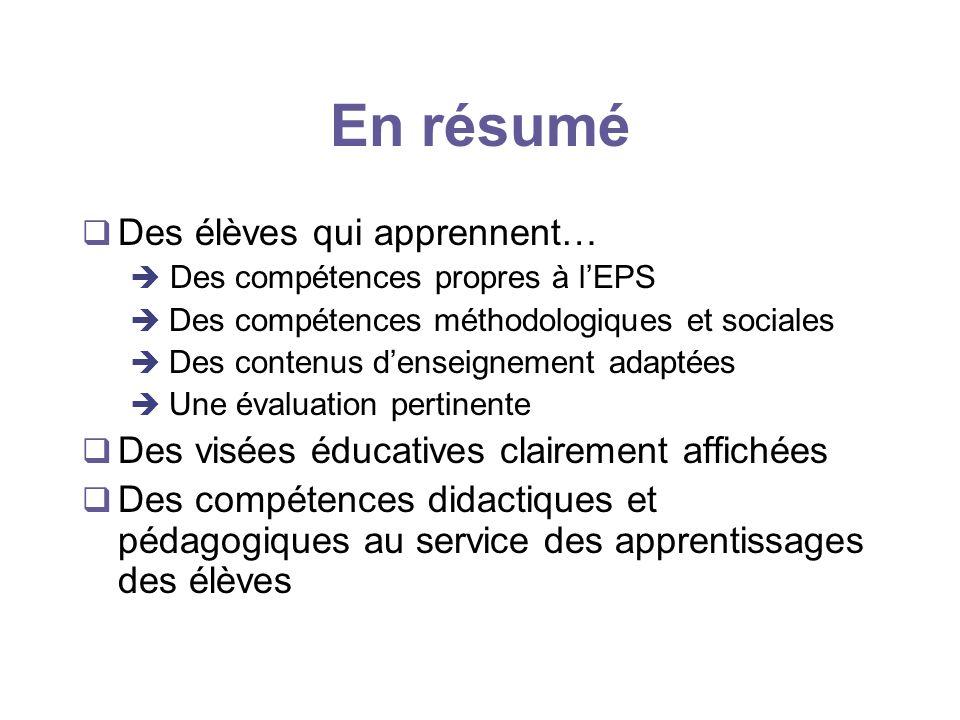 En résumé Des élèves qui apprennent… Des compétences propres à lEPS è Des compétences méthodologiques et sociales è Des contenus denseignement adaptée