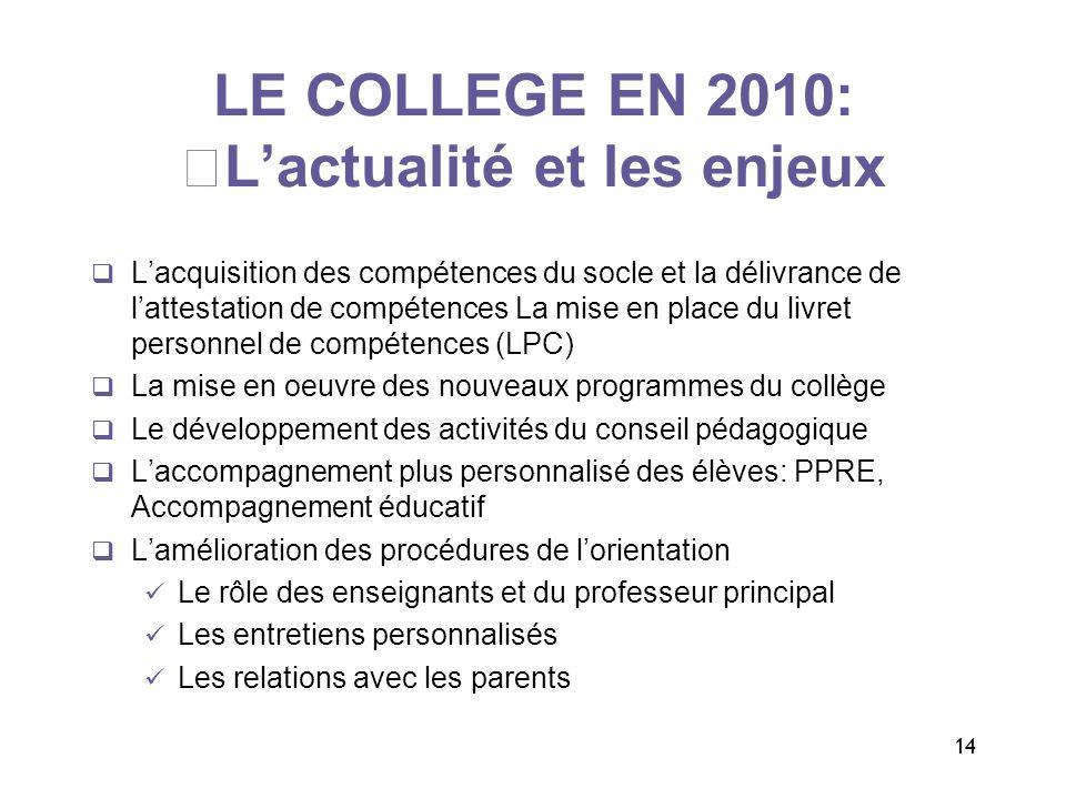 14 LE COLLEGE EN 2010: Lactualité et les enjeux Lacquisition des compétences du socle et la délivrance de lattestation de compétences La mise en place