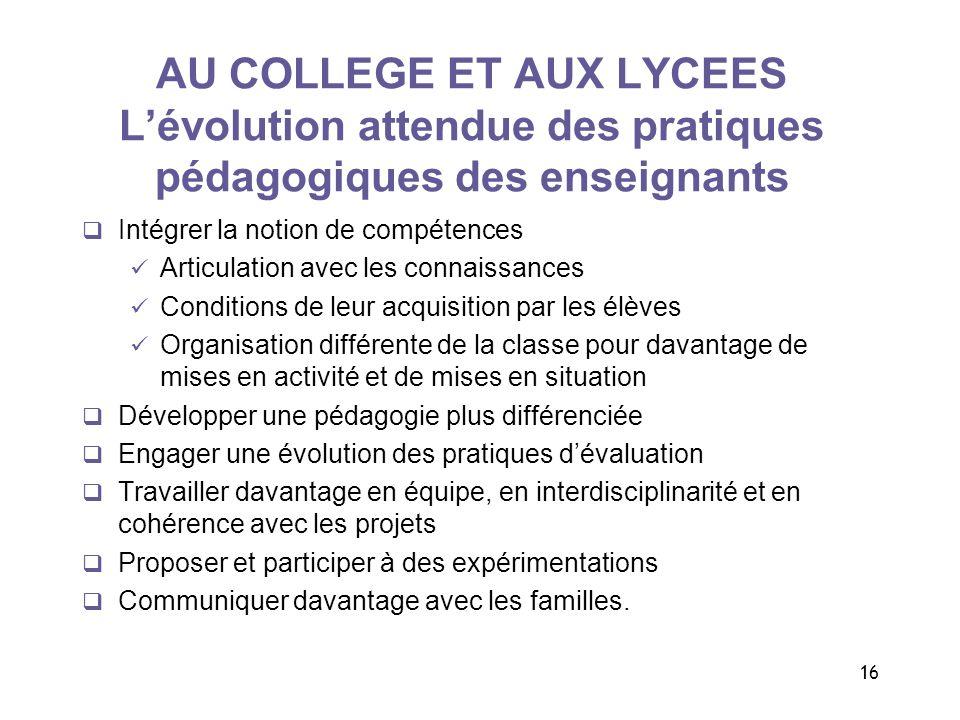 16 AU COLLEGE ET AUX LYCEES Lévolution attendue des pratiques pédagogiques des enseignants Intégrer la notion de compétences Articulation avec les con