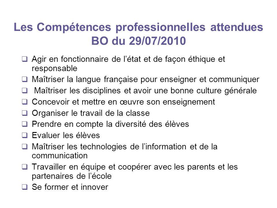 Les Compétences professionnelles attendues BO du 29/07/2010 Agir en fonctionnaire de létat et de façon éthique et responsable Maîtriser la langue fran