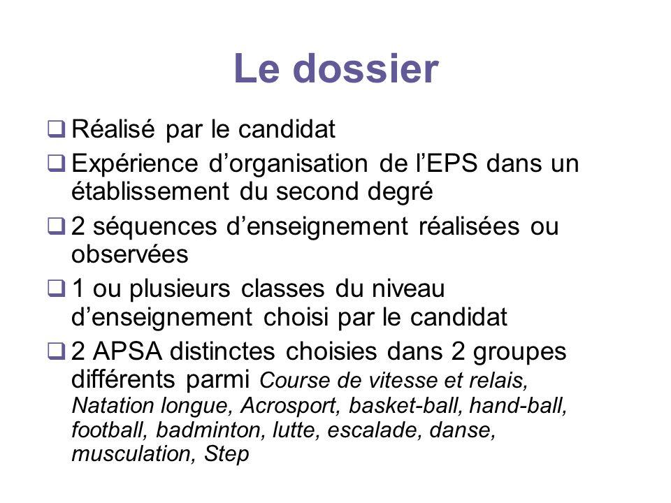 Le dossier Réalisé par le candidat Expérience dorganisation de lEPS dans un établissement du second degré 2 séquences denseignement réalisées ou obser