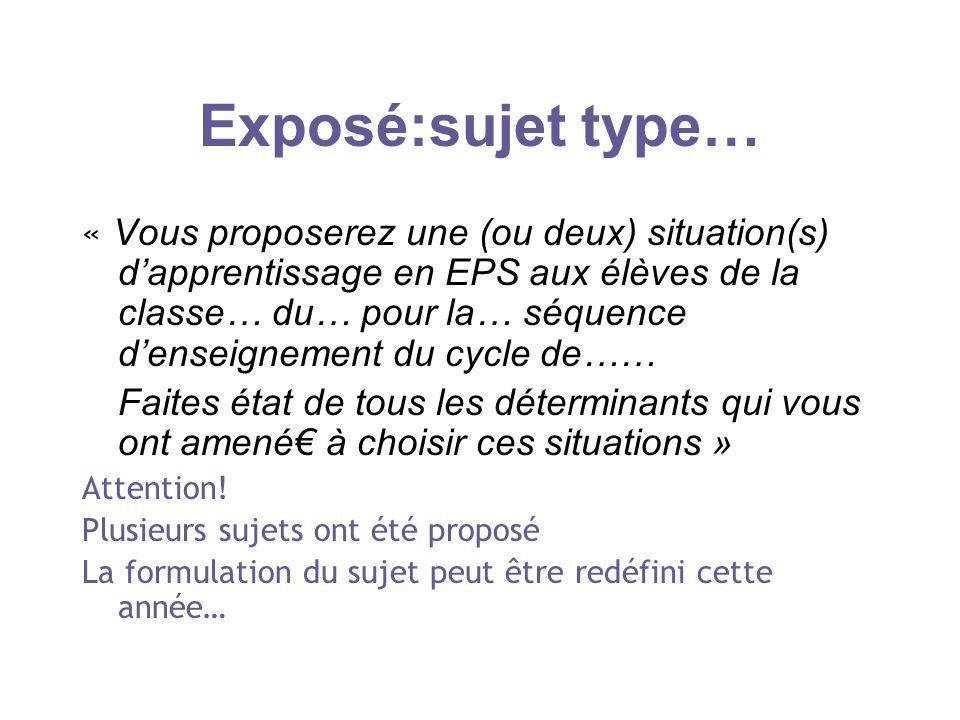 Exposé:sujet type… « Vous proposerez une (ou deux) situation(s) dapprentissage en EPS aux élèves de la classe… du… pour la… séquence denseignement du