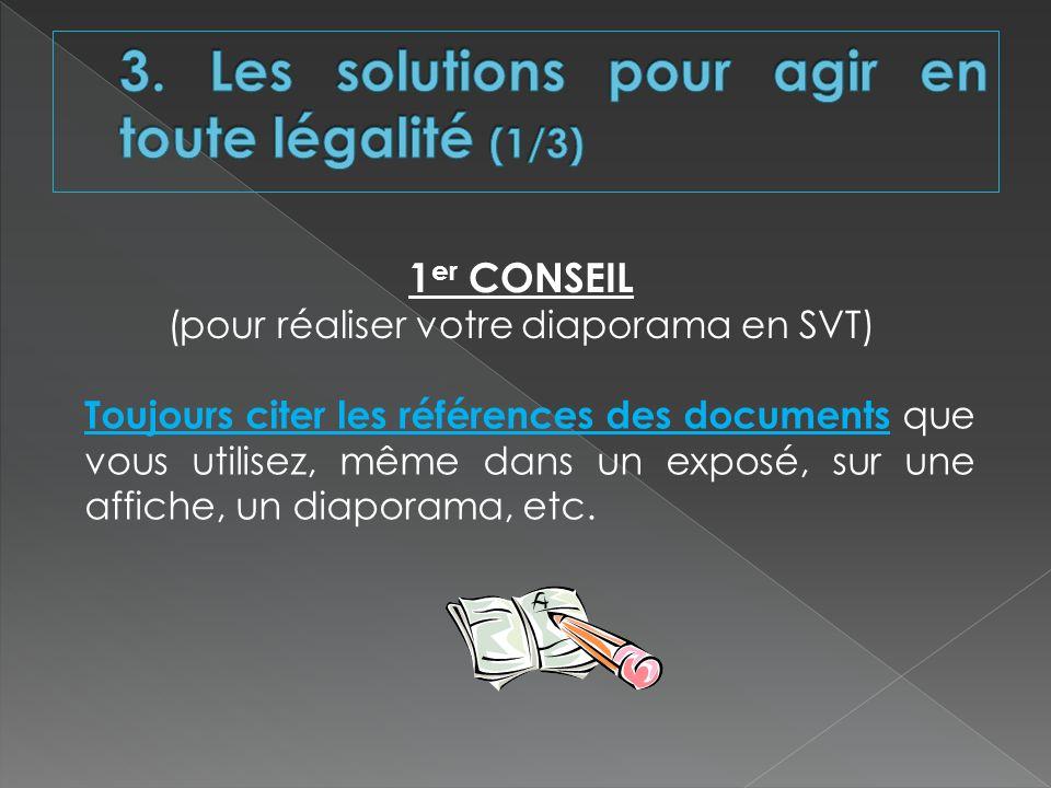 1 er CONSEIL (pour réaliser votre diaporama en SVT) Toujours citer les références des documents que vous utilisez, même dans un exposé, sur une affich