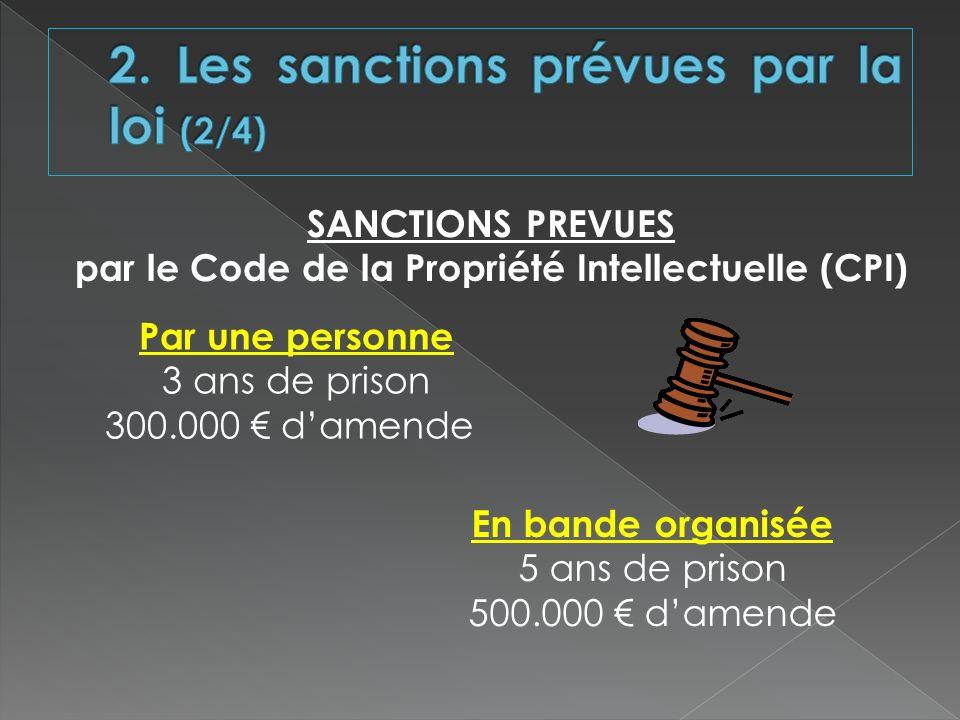 Par une personne 3 ans de prison 300.000 damende SANCTIONS PREVUES par le Code de la Propriété Intellectuelle (CPI) En bande organisée 5 ans de prison