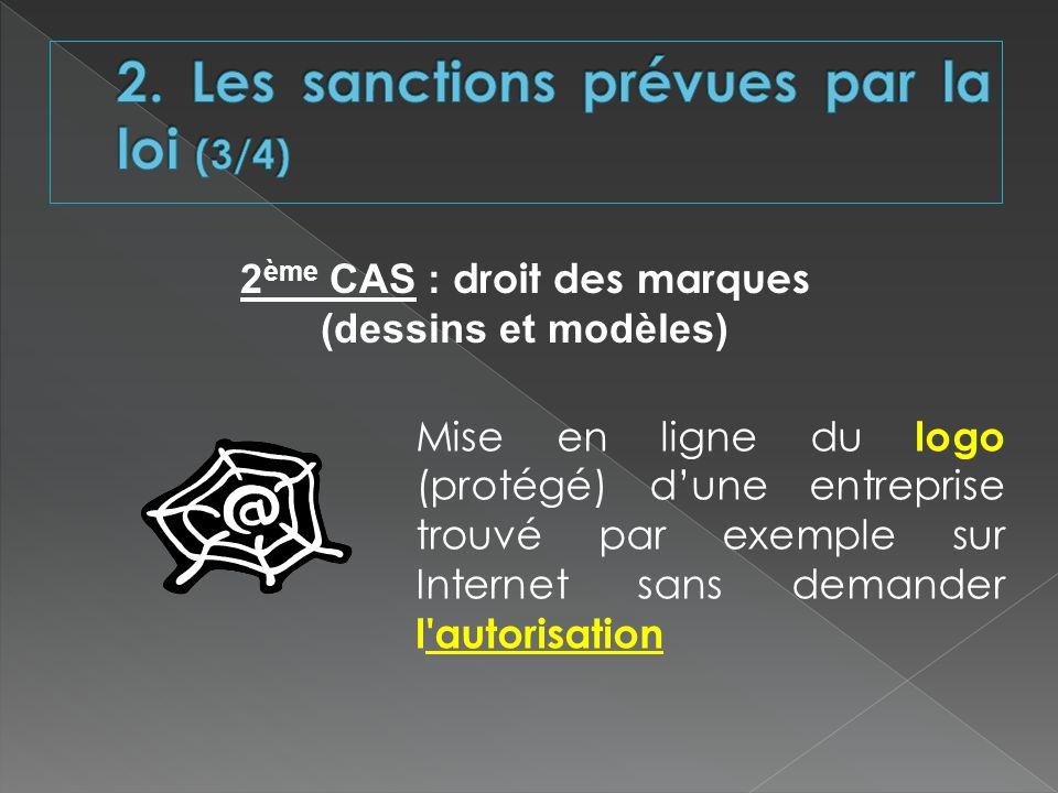2 ème CAS : droit des marques (dessins et modèles) Mise en ligne du logo (protégé) dune entreprise trouvé par exemple sur Internet sans demander l'aut