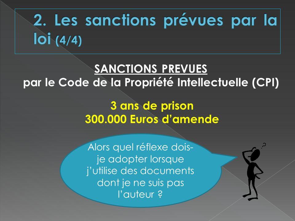 SANCTIONS PREVUES par le Code de la Propriété Intellectuelle (CPI) 3 ans de prison 300.000 Euros damende Alors quel réflexe dois- je adopter lorsque j