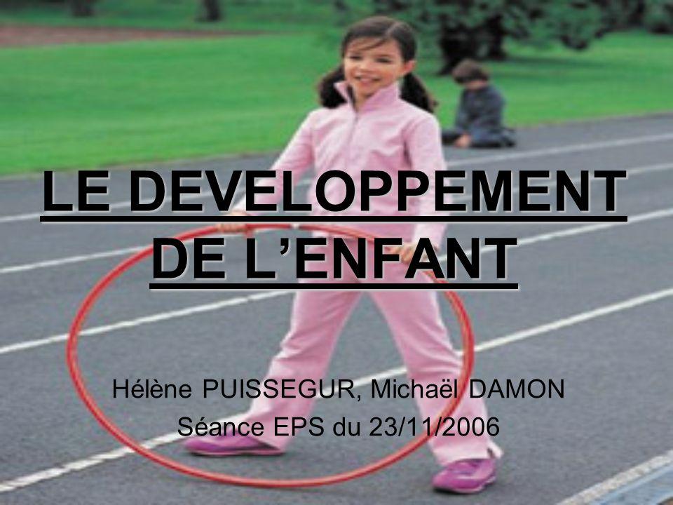 LE DEVELOPPEMENT DE LENFANT Hélène PUISSEGUR, Michaël DAMON Séance EPS du 23/11/2006