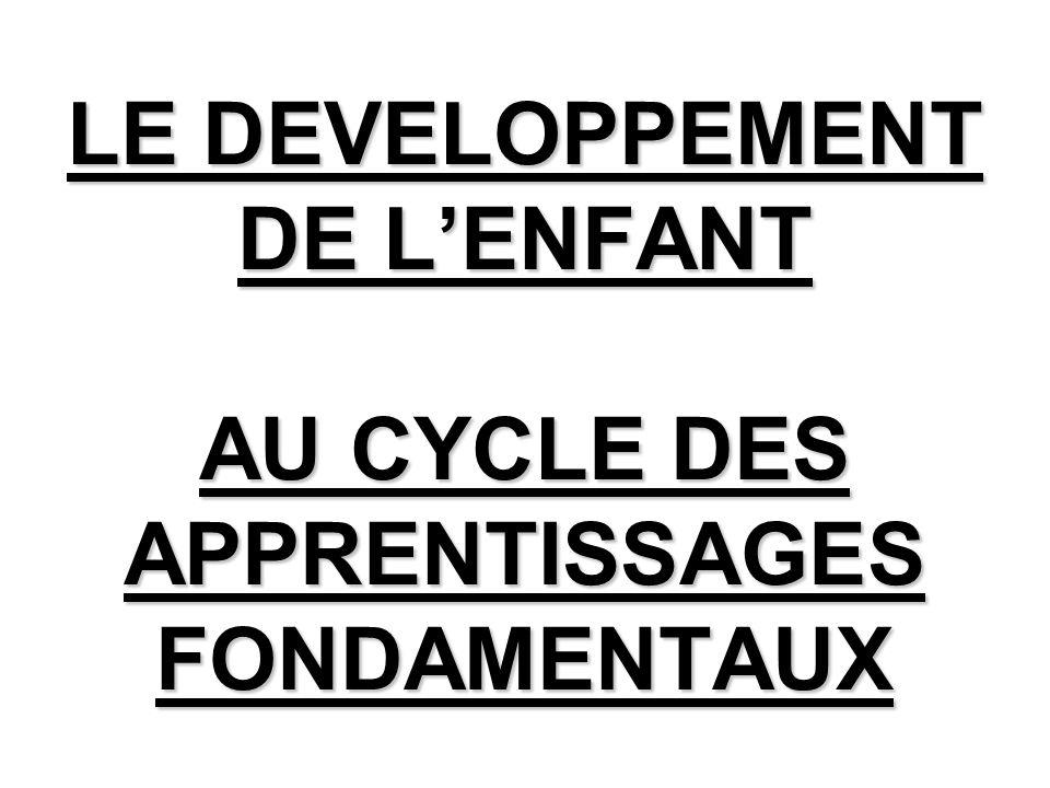 LE DEVELOPPEMENT DE LENFANT AU CYCLE DES APPRENTISSAGES FONDAMENTAUX