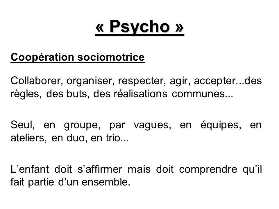 « Psycho » Coopération sociomotrice Collaborer, organiser, respecter, agir, accepter...des règles, des buts, des réalisations communes... Seul, en gro
